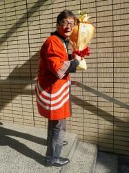 三田祭のはっぴを着て
