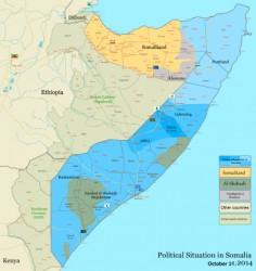 ウィキペディアより。黄色の部分がソマリランド