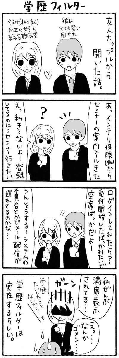 【漫画】学歴フィルタ 面接担当「日東駒専以上にはメール送るがF欄には送らねぇ!」