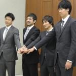 選手会長の岡田優介選手(日本バスケットボール選手会設立記者会見より・(C)JBPA)