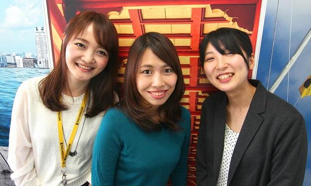 平成広報女子会から今回の担当者3人。左から劉陽良(リッチメディア)、荒川佳織(レアジョブ)、福井澪菜(ヴァル研究所)
