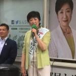 女性初の都知事となる小池百合子氏(7月20日撮影 JR 浜松町駅前で)