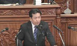 衆議院本会議で内閣不信任案の趣旨説明をする枝野氏