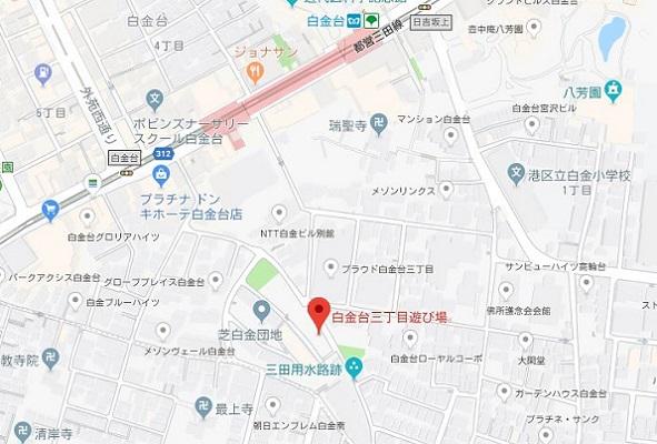 画像はグーグルマップのキャプチャ。当該の土地は、白金台駅から徒歩数分のところにあります。