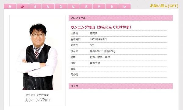 画像はカンニング竹山さんの所属するサンミュージック公式サイトのキャプチャ