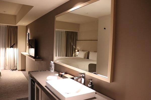 入ってすぐの洗面スペース。大きな鏡で、部屋が更に広く感じます。