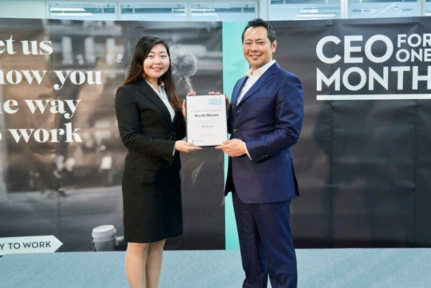 ▲2019年「CEO for One Month」日本代表の村瀬美咲さんと、アデコ株式会社 代表取締役社長の川崎