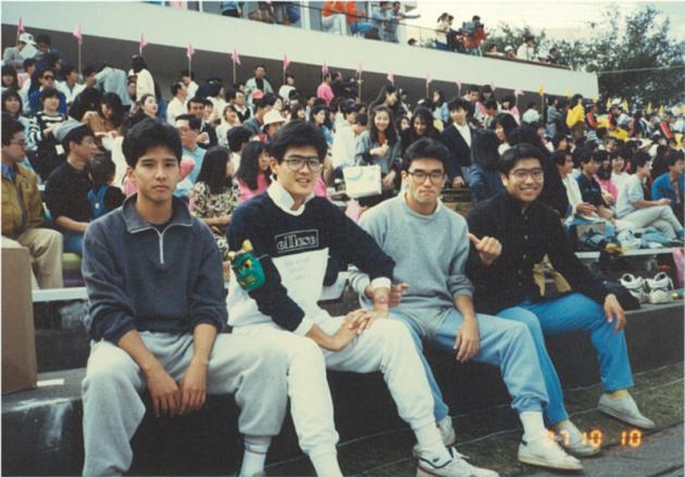 ▲野村證券時代の写真(一番左が水田)