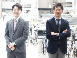 ▲左:佐藤 右:太田 現在の二人。名古屋支社前にて。
