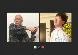 ▲左:コンシューマビジネス本部1部1Gマネージャー・折原 和弘 右:同本部1部2G・杜 浩亮 取材は5月1日リモートワークで行った。ふたりの信頼関係が垣間見えるこの写真は杜のアイディアだ。