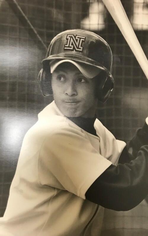 ▲野球部時代の紀之定。肘の故障を乗り越え、スラッガーとして活躍した