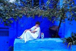 ▲青色の町、モロッコのシャウエンにて