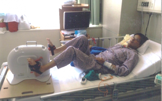 ▲入院中、厳しいリハビリ生活を送る日々