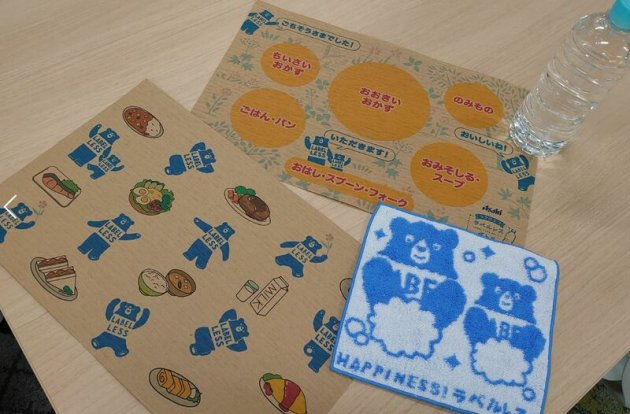 ▲環境配慮素材を採用したランチョンマットやハンドタオルなどの販促品