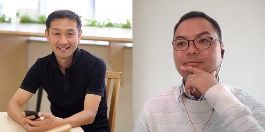 ビジネスデザイナーの細野真悟さん(左)とグローバルウェイ取締役の根本勇矢
