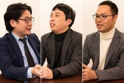エーアイセキュリティラボ代表取締役社長の青木歩氏(中央)と、グローバルウェイ取締役の梁行秀(左)、根本勇矢